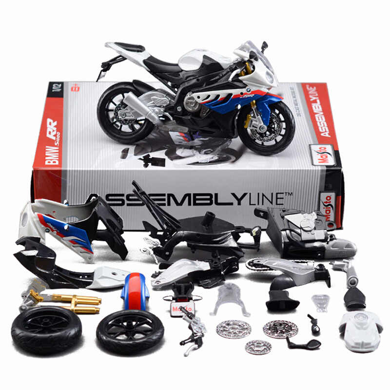 1:12 Motorcycle Toy Alloy S1000RR Motorcycle Model Car DIY Assembled Motor Model With Rear Wheel With Suspension For kid gift