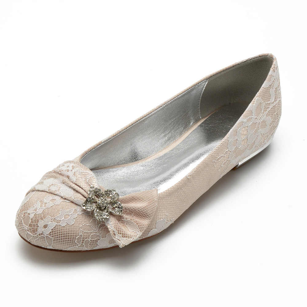Creativesugar manis renda bowtie berlian imitasi kristal bunga bros wanita flat round toe bridal pernikahan prom partai sepatu champagne