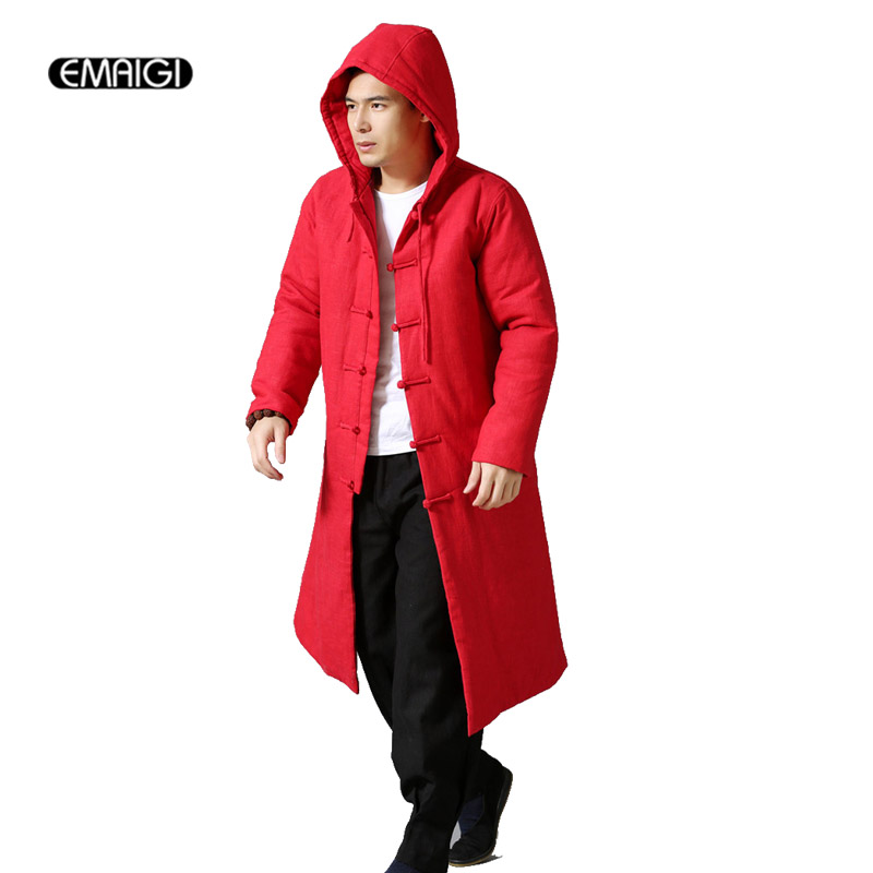 6 Colors Winter Men Women Parkas Thicken Hooded Coat High Quality Male Linen Cotton Long Padded Jacket 2015 autumn winter 3 colors cotton linen men s coat vintage cotton padded clothes outer parkas two sided jacket