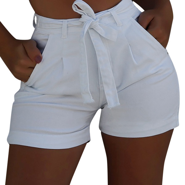 Women Clothes Shorts Plus Size 3XL Waist High Elastic Denim Shorts Female Summer Cotton Linen Hot Jeans Short
