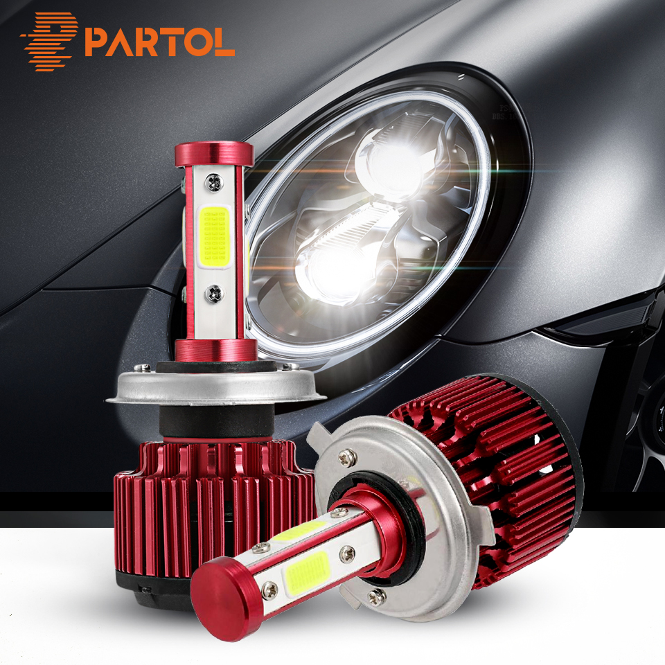 Partol 100W LED H4 Hi Lo Beam H7 H11 9005 9006 9012 5202 Car LED Headlight Bulbs 4 Sides COB Chips Auto LED Lamp Fog Light 12V