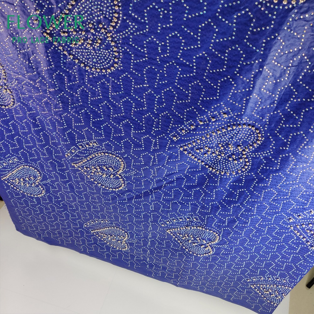 Royal Blue Beads And Stones Bazin Riche Lace Fabric With Good Smell Guinea French High Quality 100% Cotton Women Basin Material