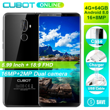 Cubot X18 Plus 18:9 FHD+ 4GB 64GB 5.99 Inch Smartphone Android 8.0 MT6750T Octa-Core 16MP+2MP Rear Cameras Mobile Phone(China)