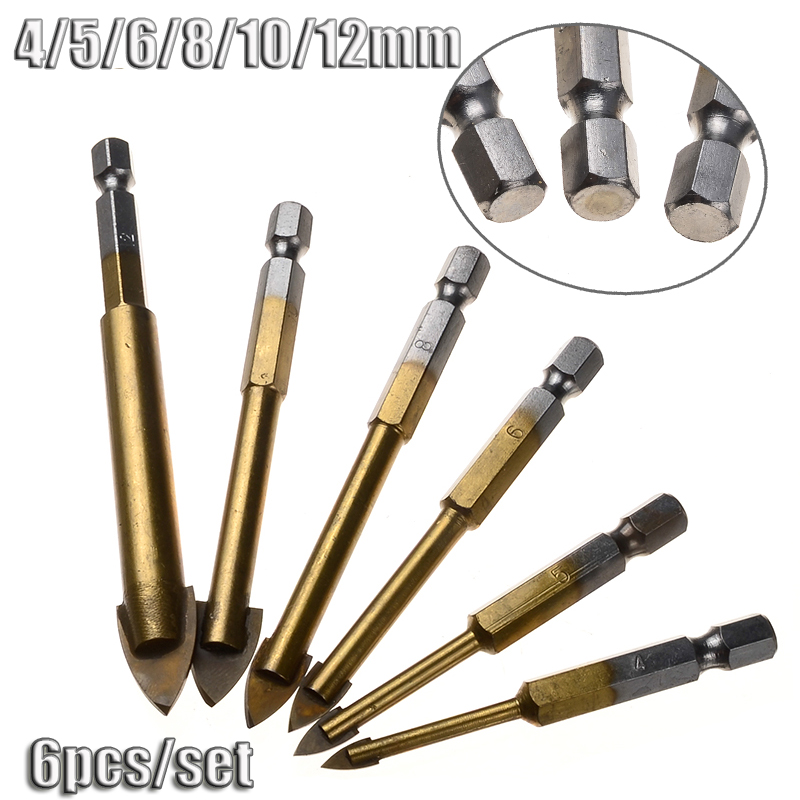 6pcs/Set 4/5/6/8/10/12mm Titanium Coated Tungsten Steel Drills Hex Shank Ceramic Tile Marble Mirror & Glass Core Drill Bits 4 pieces tungsten carbide glass drill bits for ceramic tile marble mirror 6mm 8mm 10mm 12mm