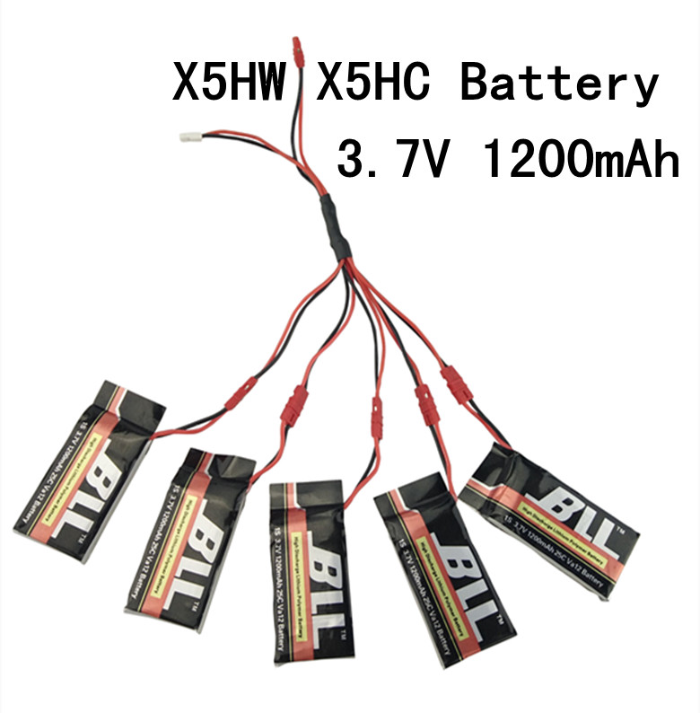 5PCS 3.7V 1200mah LiPo Battery + 1 points 5 conversion line for SYMA X5HW X5HW RC Drone Quadcopter Spare Parts Set 4pcs 500mah lipo 4 in 1 usb charger set for syma x5hc x5hw quadcopter remote control drone model spare part replacement set