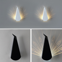 5W Modern Wall Lamp Simple Metal Peacock Projection Lamps LED Wall Light Iron Decoration For Bedside Bedroom AC85 250V