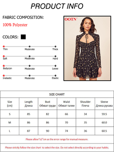 Image 5 - OOTN 2020 Summer Chiffon Dress Halter Hollow Out Women Casual Short Dresses Floral Print Long Sleeve Ruffle Female Sundress