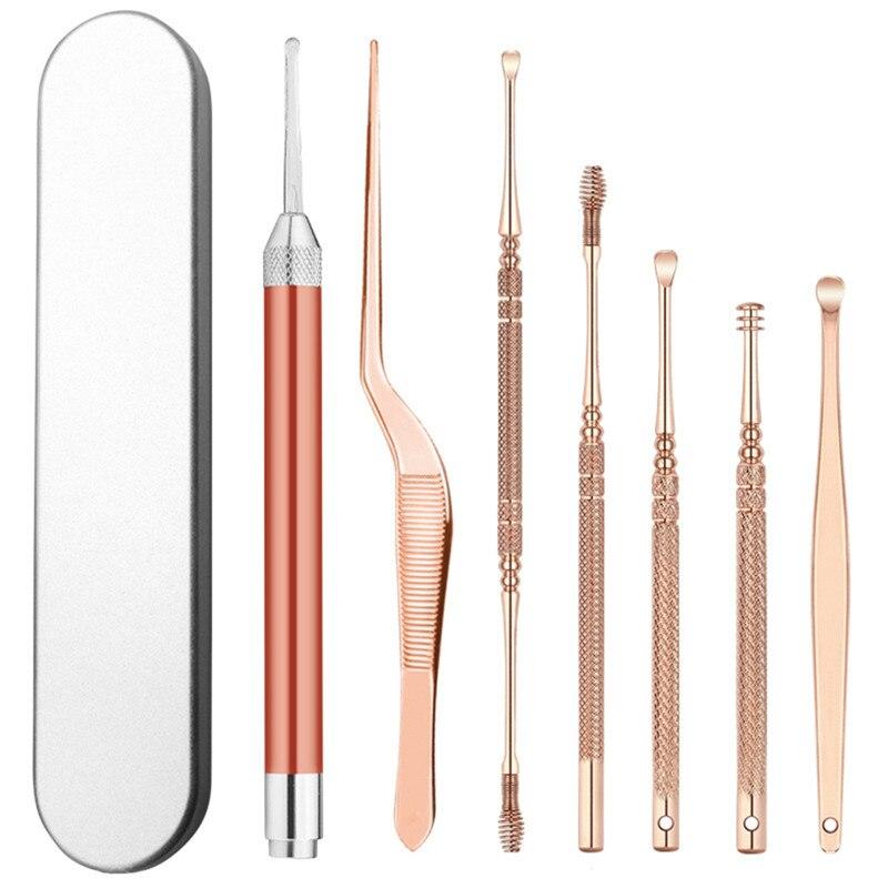 7pcs/set LED Ear Wax Pickers Stainless Steel Earpick Wax Remover Curette Ear Pick Cleaner Ear Cleaner Spoon Care Ear Clean Tool