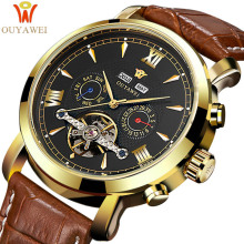 купить OUYAWEI 2017 Skeleton Tourbillon Mechanical Watch Automatic Men Classic Gold Leather Mechanical Wrist Watches Clock Reloj Hombre по цене 2065.96 рублей