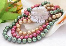 Ожерелье из радуги с круглым пресноводным искусственным жемчугом