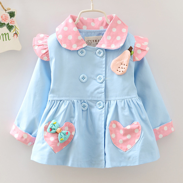 Girls Spring Jackets Children Long Sleeve Outwear Cartoon Cotton Princess Girls Coats And Jackets Kids Coats With Bow And Pocket