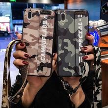 Army Camo Camouflage Pattern Case For vivo x9 x9s x20 Plus Fashion Wrist Strap x21 x21i x23 Y85 Soft TPU Back Cover