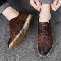 2019 New Luxury Men Shoes Men Genuine Leather Oxford Shoes Men's British Style Pointed Toe Retro Shoes Lace Up Casual Shoes