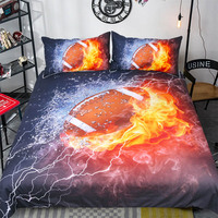 3D Rugby Pattern Comforter Home Textile Bedroom Bedding Set Quilt Duvet Cover Bedclothes Pillowcase Sets Bed Pillow 3PCS TJ 11