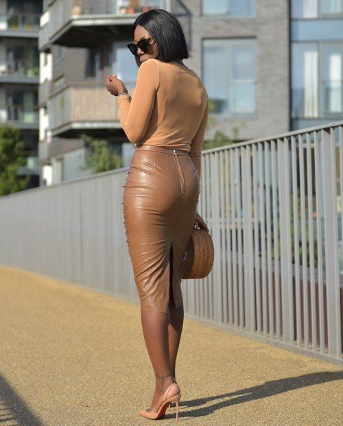 Plus Size Leather Pencil Fashion Skirt 4