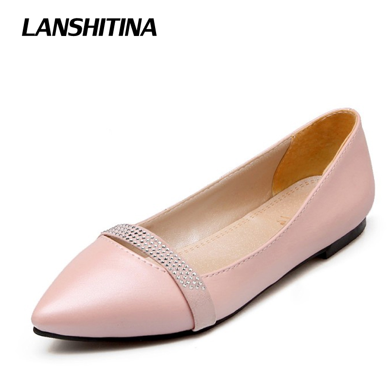 LANSHITINA Big Size 30-49 Women Pointed Flat Shoes Spring Summer Fashion Bow Flat Shoes Egg Roll Shoes Comfortable Flats G783 women s shoes 2017 summer new fashion footwear women s air network flat shoes breathable comfortable casual shoes jdt103