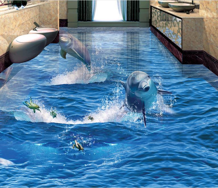 ФОТО 3 d floor waterproof wallpaper custom 3d wallpaper living room wallpaper mural dolphin vinyl floor tiles self adhesive wallpaper