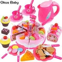 Новейшие DIY ролевые игры фрукты разрезание торта ко дню рождения кухонная игрушечная еда Cocina De Juguete игрушка розовый синий подарок для девоче...