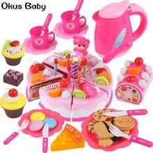 Neueste DIY Pretend Spielen Obst Schneiden Geburtstag Kuchen Küche Lebensmittel Spielzeug Cocina De Juguete Spielzeug Rosa Blau Mädchen Geschenk für kinder