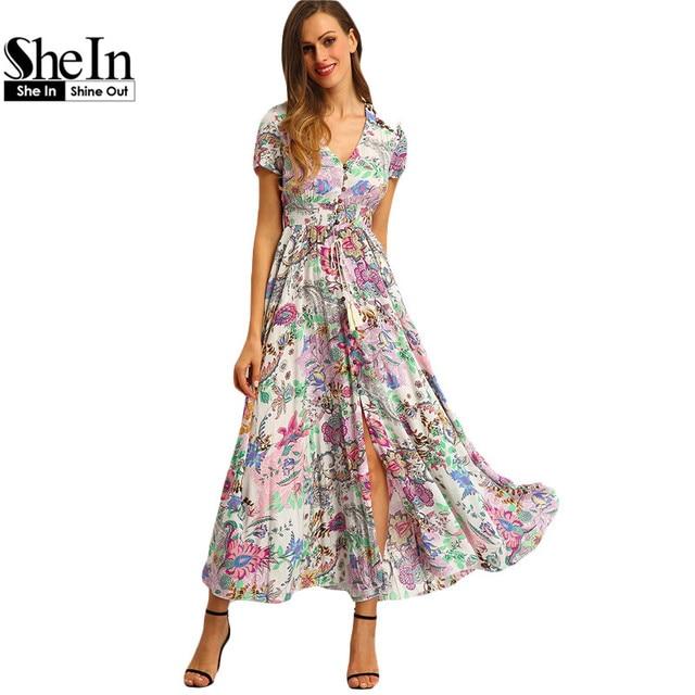 SheIn Многоцветный Цветочный Печати Кнопка Сплит Передняя Flare Одежда для Пляжа Boho Maxi Dress Женщины С Коротким Рукавом V Шеи Длинным Dress