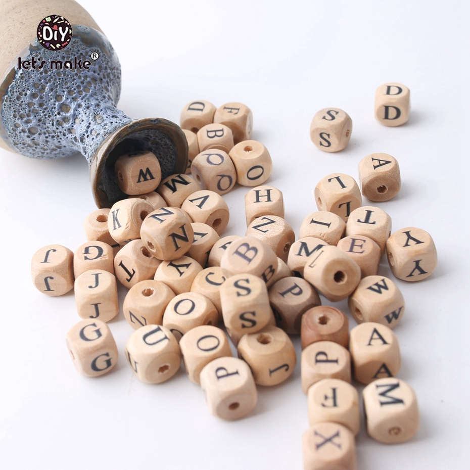 Let s Make Wholesale 500PCS 12mm Square Shape Beech Wood 26 Letter Beads Teething DIY Jewelry