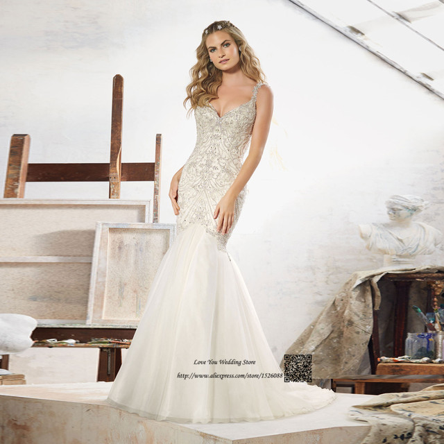 d3184fef8 Vestido de Noiva princesa Luxo Sirena Vestidos de Novia Sin Espalda Con  Cuentas Piedras Vestido de