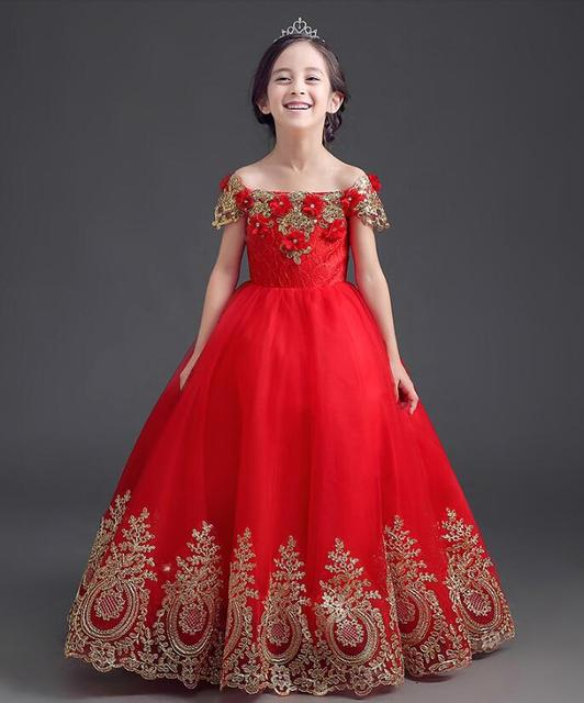 6de7af9fe Flower girls dresses princess kids birthday party wedding ball gown ...