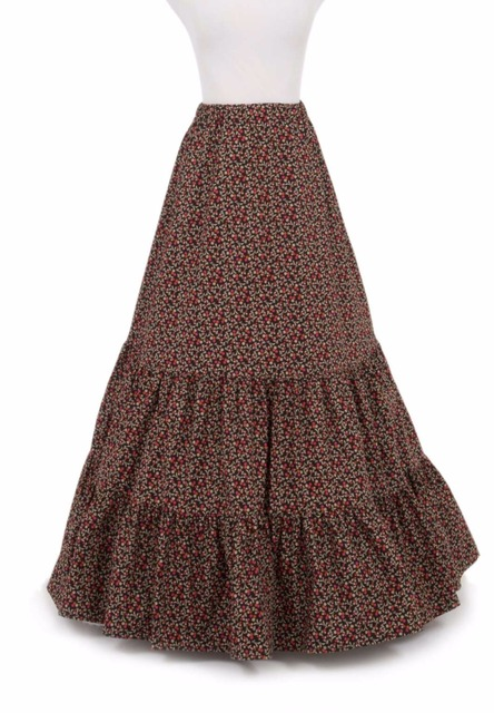 86376446b1 Printing Long Victorian Skirt Victorian French Pleated Gathered Bustle  Skirts
