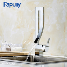 Kitchen Faucet Deck Mounted Water Mixer Tap Chrome Square Waterfall Griferia Lavamanos Cold Hot Musluk 210-22C