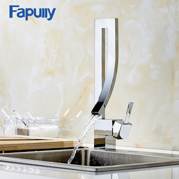 Fapully Bathroom Sink Faucet Brass Basin Single Handle Waterfall Basin Mixer Tap Hot And Cold Sink Waterfall Bath Faucet 183-33C wholesale and retail free shipping chrome brass big waterfall bathroom basin faucet single handle hole sink mixer tap