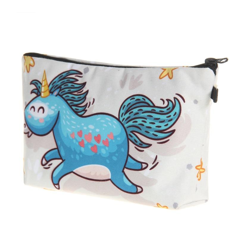2018 New Women Cosmetic Bags Fashion Cartoon Unicorn Printed Make Up Bags Travel Wash Bags Make Up Tool Organized Bags