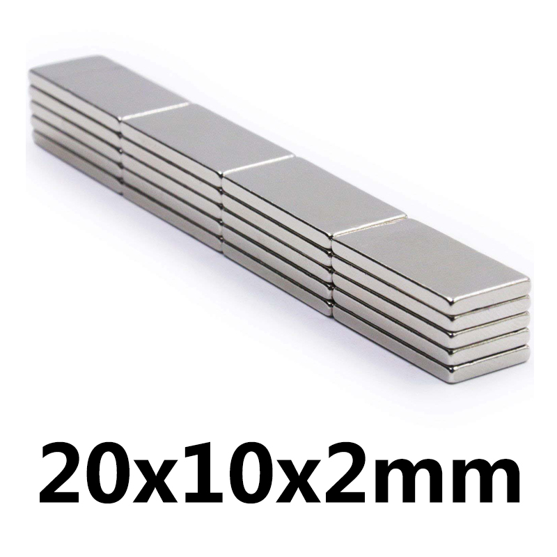 10Pcs 20 X 10 X 2mm Super Strong Neodymium Magnet Block Rectangular Body Rare Earth Magnet N35 Thin Magnet Strong Magnetic