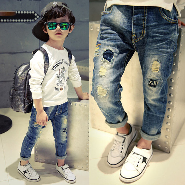 Бесплатная доставка, детская одежда осень брюки Дети детские брюки Slim двигаться Мальчиков джинсы, мальчик рваные джинсы