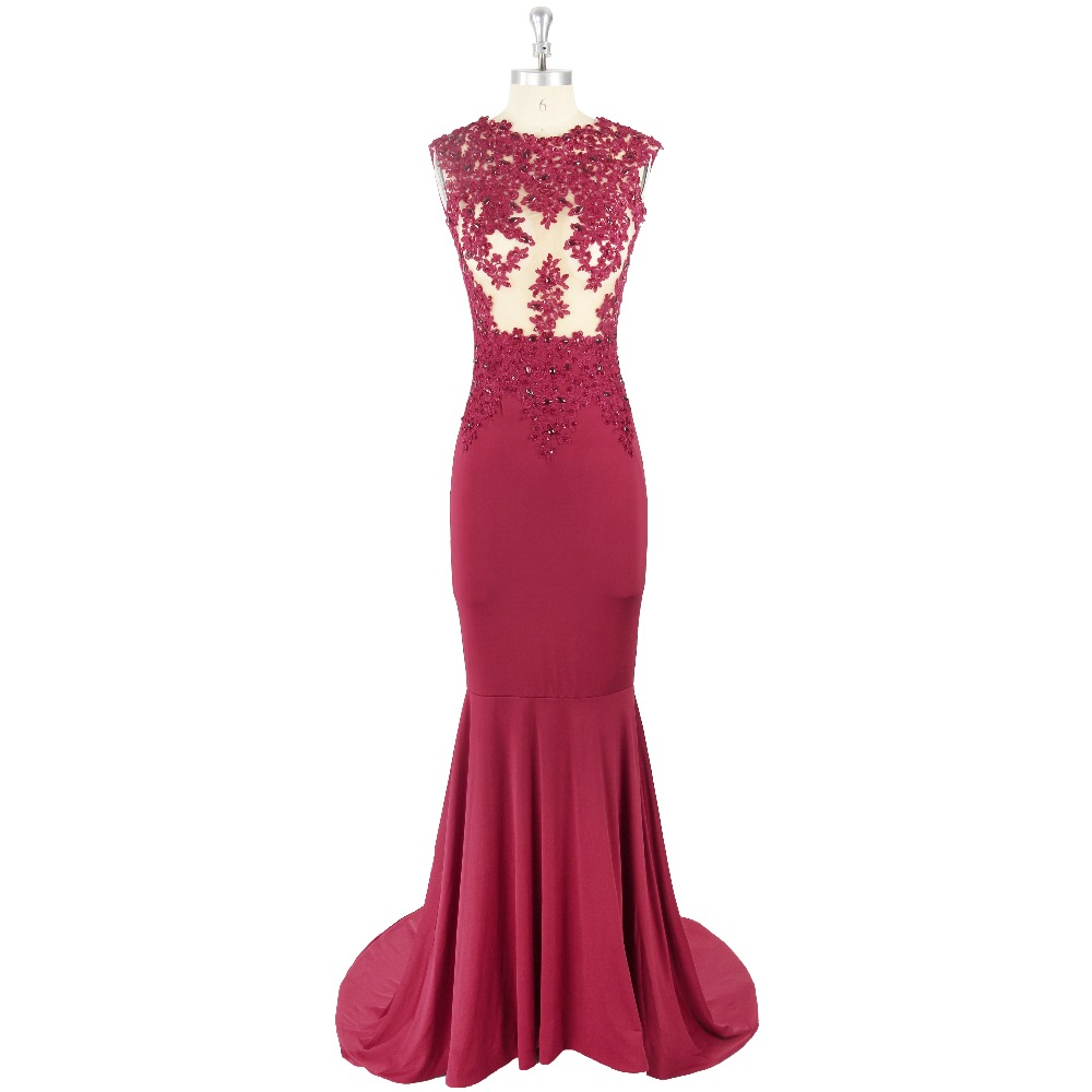 2017 Sexy Burgundy Sleeveless Jewel Neck Zipper Floor-length Sequins Appliques Crystal Detailing Satin Formal   Prom     Dress   Evening