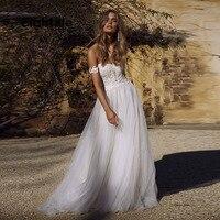 Eightale Boho Wedding Dresses with Detachable Straps Appliques Lace A Line Wedding Gowns Romantic Vintage Beach Bride Dresses