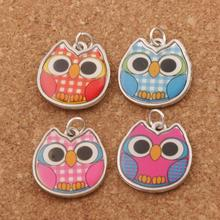 16PCS Enamel Grid Owl Charm Beads 4Colors Two-Sided Pendants L1557 18.8x19.3mm Jewelry DIY T1557