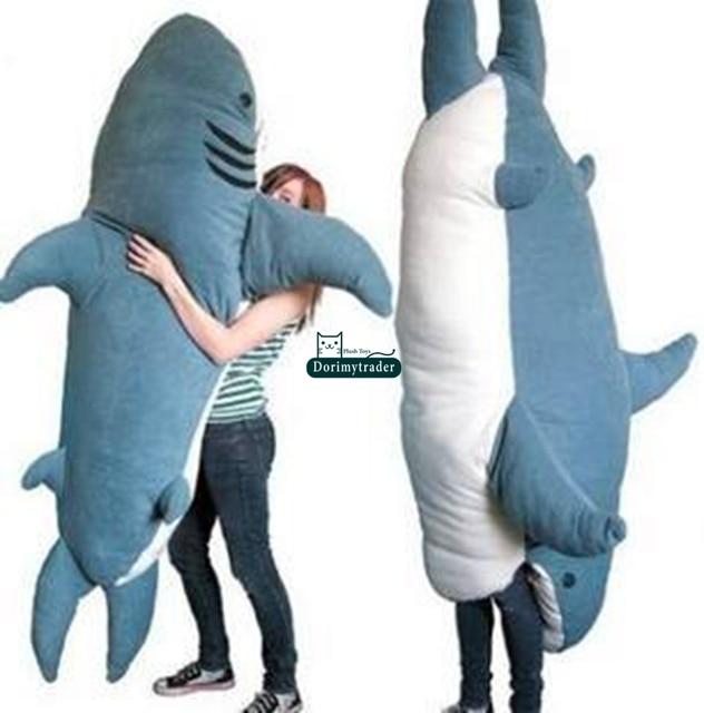 Dorimytrader Cartoon Animal Shark Beanbag Giant Plush Soft Sharks Toy  Sleeping Bag Tatami Sofa Mat 2