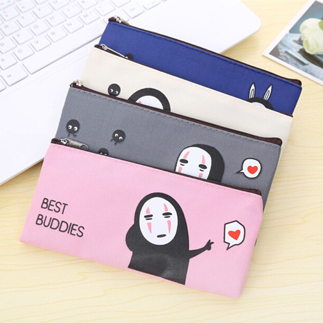 New Kawaii Cartoon No Face Male Series190*90mm Oxford Cloth Pencil bag DIY Stationery Bag Office School Supplies wholesale