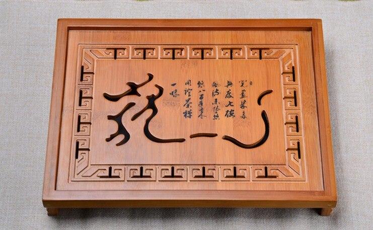 Offre spéciale Kung Fu thé Set bois naturel bambou thé plateau rectangulaire traditionnel bambou Puer thé plateau Chahai thé Table offre spéciale