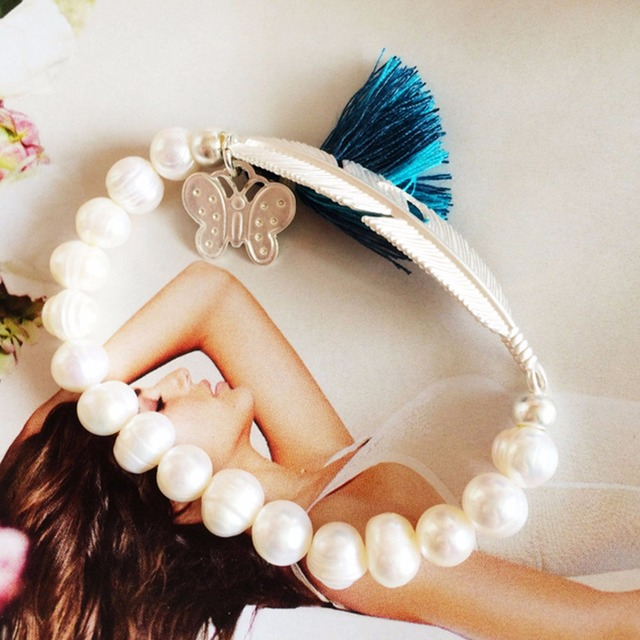 Bohemia Bracelets with Pearls and Feather