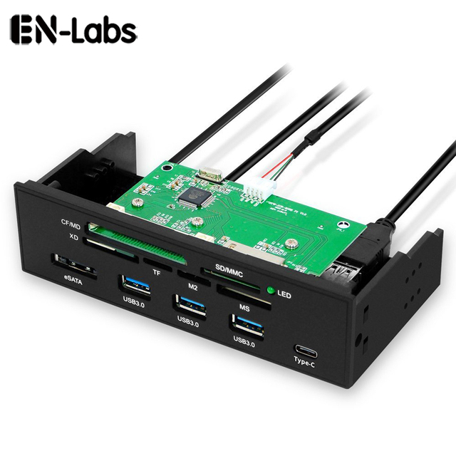 """EN-Labs 5.25"""" PC Computer Front panel USB 2.0 card reader with 3 ports USB3.0,Type-C, eSATA,MD,SD/MMC,XD,TF,M2,MS,64G CF Reader 1"""