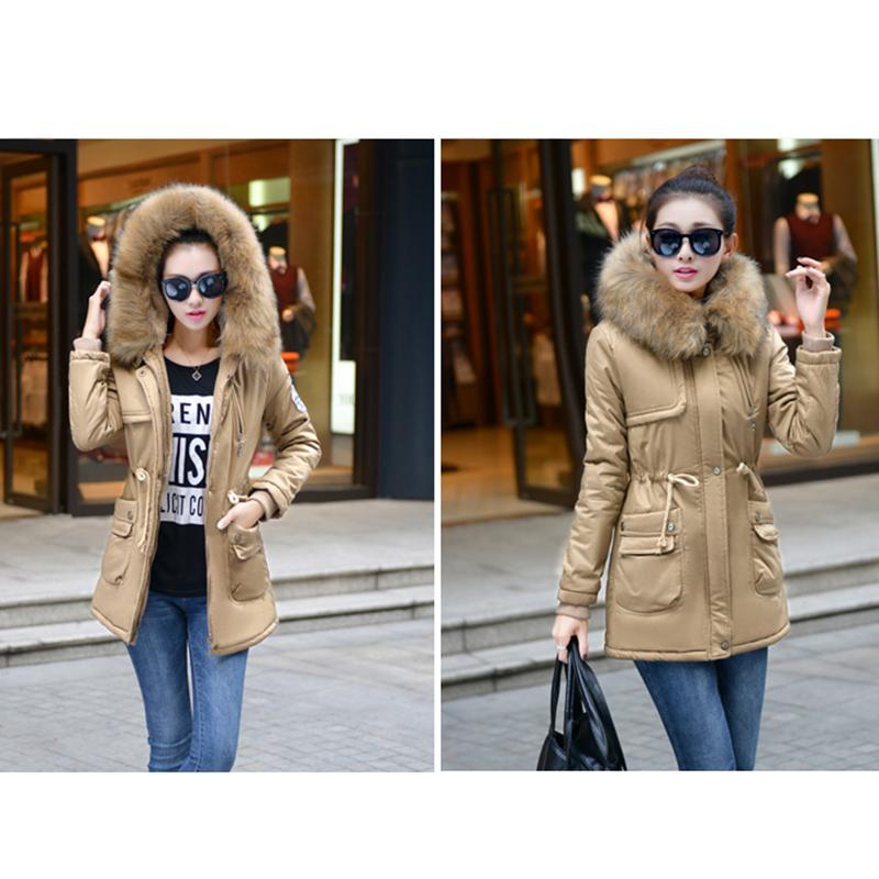 Adjustable Waist Women Parkas Big Pockets Fur Hooded Long Coats Female Outwear Cotton Warm Winter Ladies Jackets Coat MDEW541 8