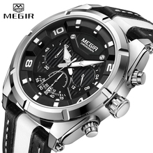 лучшая цена MEGIR Watch Men Top Brand Luxury Leather Military Sport Chronograph Quartz Mens Watches Big Dial Waterproof Relogio Masculino