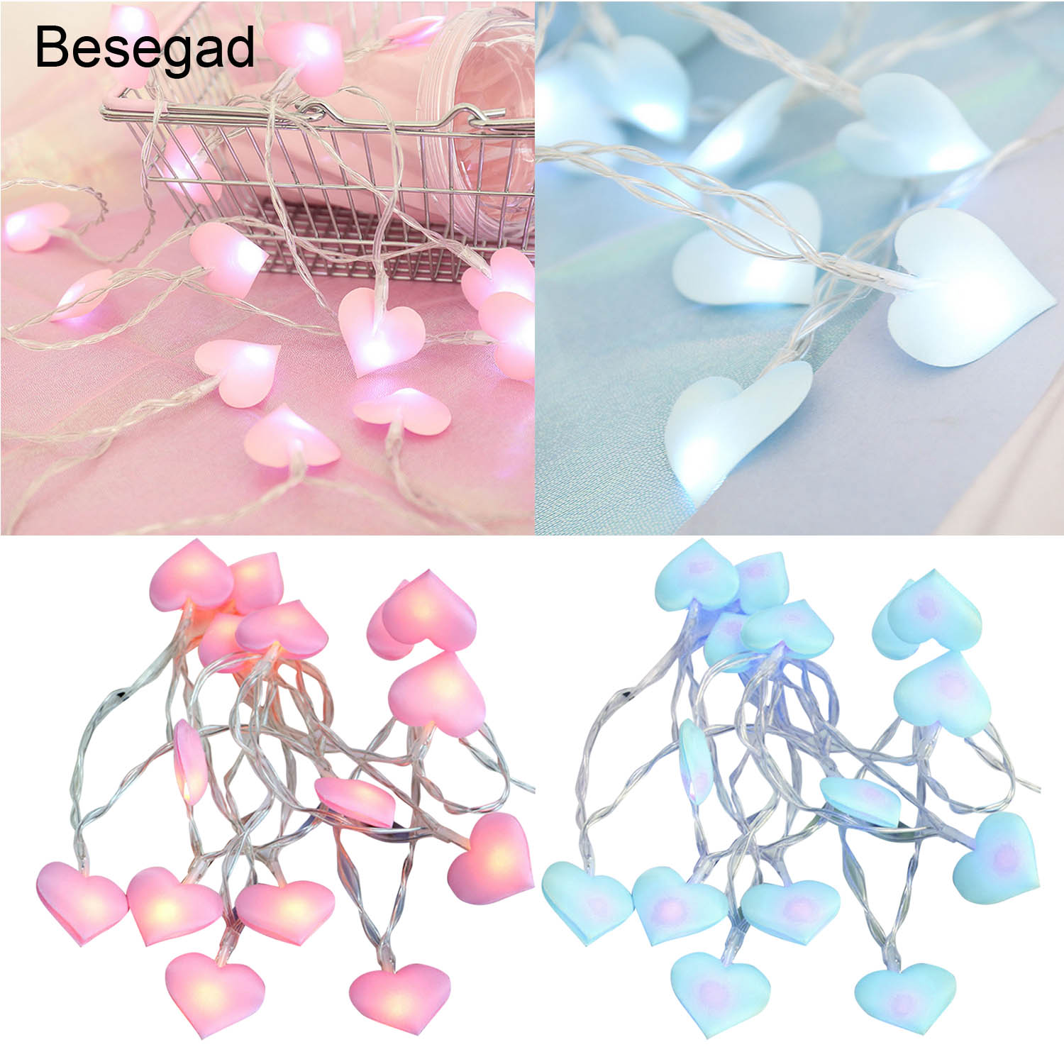 Behogar 1.5m 10 LED Cute Heart Ornament String Fairy Lights Battery Operated DIY Home Xmas Christmas Holidays Party Decorations