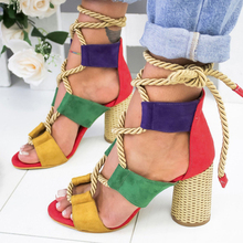 Women Shoes Summer Sandals Lace Up Cross Bandage Beach Shoes Bohemian Style High Heels Sandals 2019 summer style flat shoes plus size women s fashion bohemian bandage cotton sandals clip toe sandals shoes