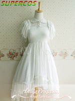 Free Shipping New Arrivals High Quality Sweet White Ruffles Short Skeeves High Low Lolita Dress