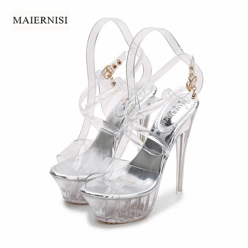 MAIERNISI New Summer Platform Sandals Ultra High Heels Shoes PVC Transparent Crystal Sandals T Strap Sexy Women Pumps 42 G1470