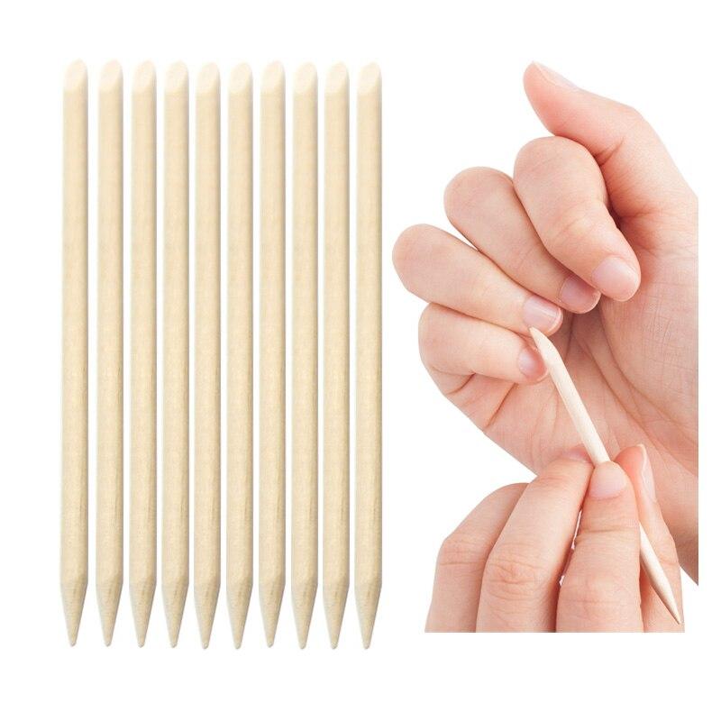 Nail Art Orange Wood Sticks Cuticle Pusher 10 Pcs Remover Spade Shape Sharp Tip Manicure Nails Tool Two-End Nail Treatment Set
