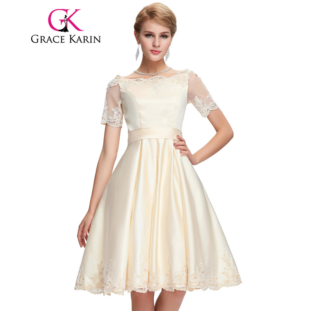 Grace Karin Champagne Dark Red   Cocktail     Dress   Short Sleeve Satin Ball Gown Robe De   Cocktail   Bandage Party Short Prom   Dress   2018