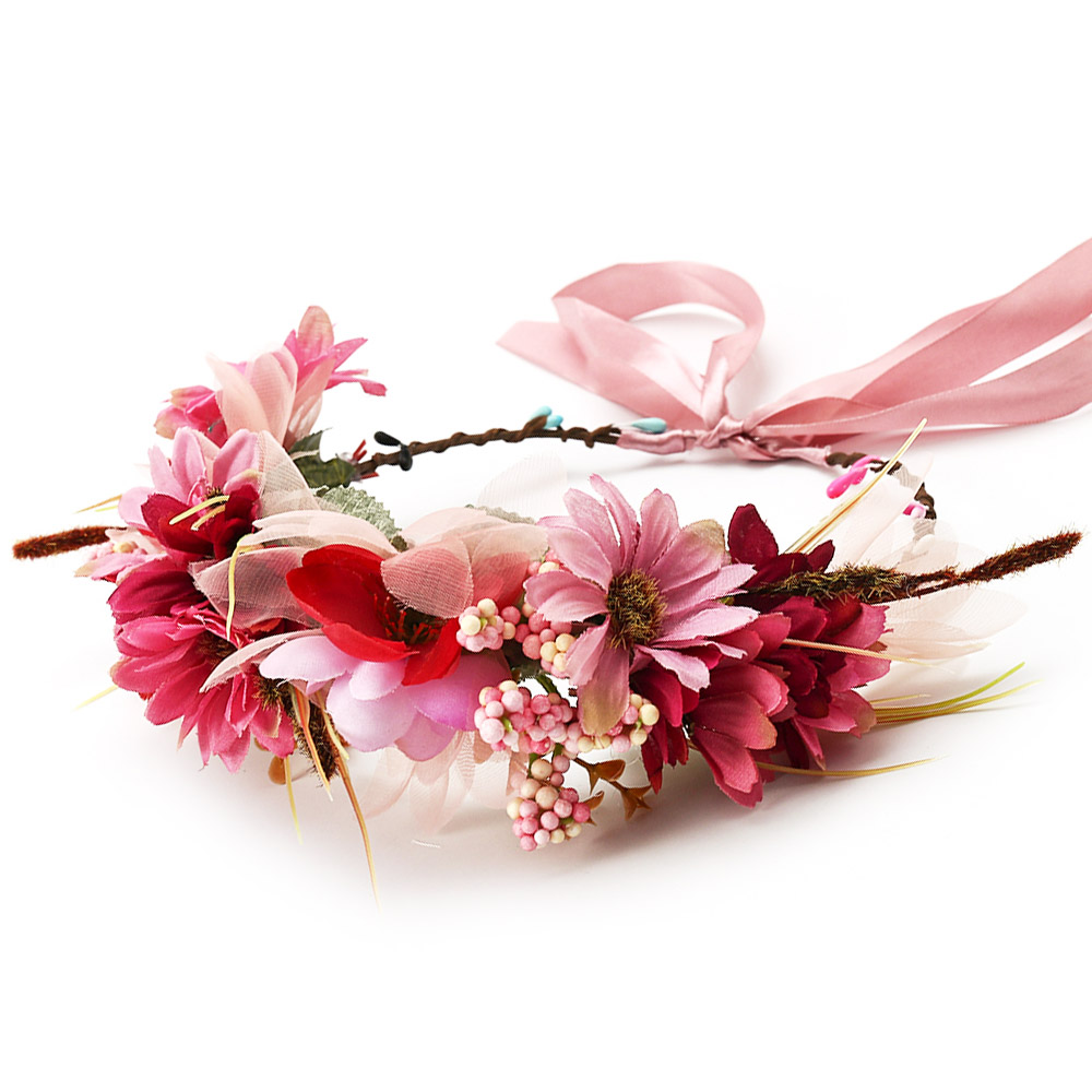 HIYONG 2019 Women Carnation Floral Crown Flower Headband for Beatuiful Girls Crown Hair Accessories Party Stylish Photography in Hair Jewelry from Jewelry Accessories